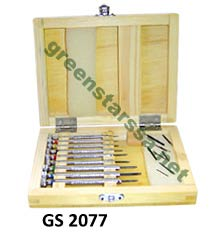 Screw driver set with extra blades in wooden box